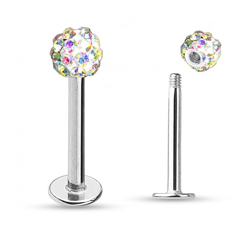 Лабрет с кристаллами